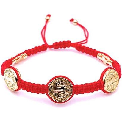 St. Benedict Red and Goldtone Slip-knot Bracelet