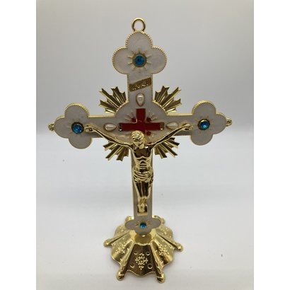 """8"""" Standing Crucifix Ornate Gold Finish with White Enamel & Jewels"""