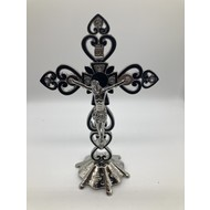 "8"" Silver & Black Crucifix, w/ Standing Base, Jewelry Decoration & Heart Details."