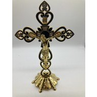 "8""  Gold & Black Crucifix, W/ Standing Base, Jewelry Decorations & Heart Details."