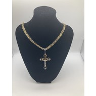"Stainless Steel Gold Plated Two-Tone Crucifix 26"" Chain"