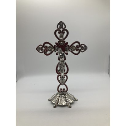 """8"""" Standing Crucifix Ornate Silver & Red with Jewel."""