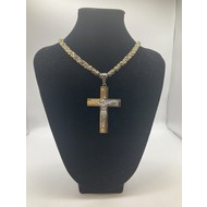 "Stainless Steel Crucifix  Gold Plated Two-Tone 26"" Chain"