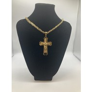 "Stainless Steel Crucifix God Plated 26"" Chain"