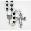 Green Tiger Eye, 8mm With 10mm Kit Capped Pearl Our Father Bead Rosary
