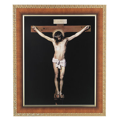 "Cherry Framed w/ an 8""x10"" Crucifix Print"