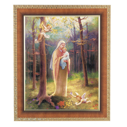 "Cherry Frame w/ an 8""x10"" Madonna of the Woods Print"