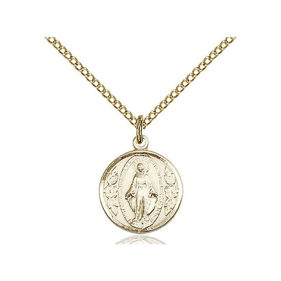14kt GF Miraculous Medal on 18 inch GF Chain