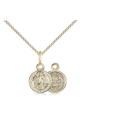 14kt GF St Benedict Pendant on 18 inch GF chain