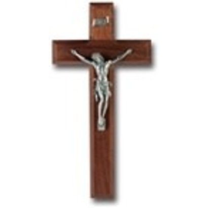 "10"" Walnut Wood Cross with Pewter Corpus"