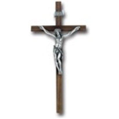 "12"" Walnut Cross with Antique Silver Corpus"