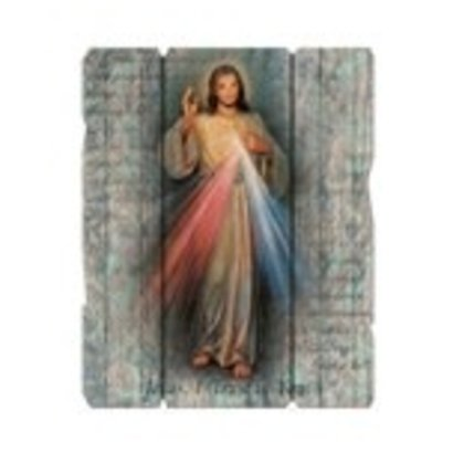 """DIVINE MERCY SMALL 7 1/2X9"""" VINTAGE PLAQUE WITH HANGER"""