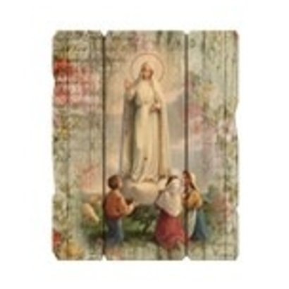 """Our Lady Of Fatima Large 7 1/2X9"""" Vintage Plaque With Hanger"""