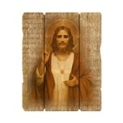 """Sacred Heart Of Jesus Small 7 1/2X9"""" Vintage Plaque With Hanger"""
