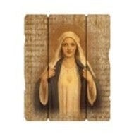 "Immaculate Heart Of Mary Small 7 1/2X9"" Vintage Plaque With Hanger"
