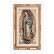 Genuine Gold Leaf and Wood Toned Frame with O.L of Guadalupe Print under Glass