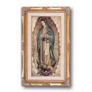 "High Quality Genuine Gold Leaf & Wood Toned Frame with O.L of Guadalupe under Glass.  11 1/4"" x 18 1/2"""