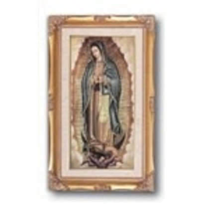 """High Quality Genuine Gold Leaf & Wood Toned Frame with O.L of Guadalupe under Glass.  11 1/4"""" x 18 1/2"""""""