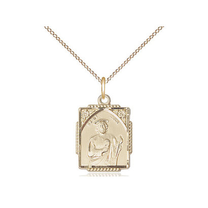 St Jude 14kt Gold Filled Pendant on a 18 inch Gold Filled Light Curb Chain