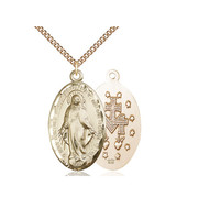 Miraculou14kt Gold Filled Pendant on a 24 inch Gold Filled Heavy Curb Chain