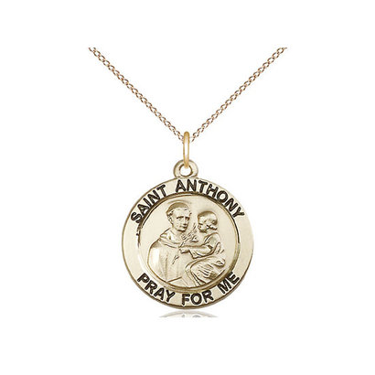 St Anthony of Padua14kt Gold Filled Pendant on a 18 inch Gold Filled Light Curb Chain