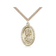 Christopher 14kt Gold Filled Pendant on a 24 inch Gold Filled Heavy Curb Chain