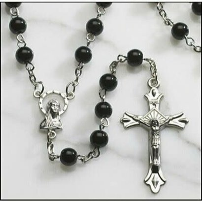 Auto Rosary 6 mm Black Wood Bead