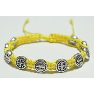 St. Benedict Slipknot Bracelet Silver Tone Medals - Yellow