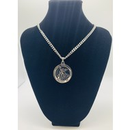 St. Michael The Archangel, Stainless Steel High Definition on Black Necklace