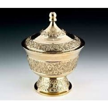 """Carved Brass Bowl With Lid - 3.25""""D, 4.75""""H"""