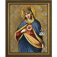 Immaculate Heart, Gold Solid Wood Frame 13x16, Made in the USA