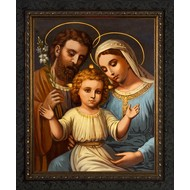 Italian Holy Family-Ornate Wood from Dark with a Dark finish 19.5x24, Made in the USA