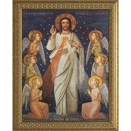 King of Divine Mercy- Gold Solid Wood Canvas Frame 23x32, Made in the USA.