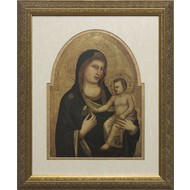 Madonna & Child, Double-Matted in Chape-Cut Cream Over Gold Under and  Gold Frame. Made in the USA.