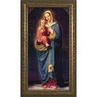 "Madonna Standing w/ Child in Gold Solid Wood Frame 14.5""x26.5"", By German Artist, Made in the USA."
