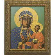 Our Lady of Czestochowa Gold Solid Wood Frame 14.5x18.5, Made in the USA.
