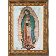 "Our Lady of Guadalupe Ornate Gold Framed Canvas 23""x33"", Made in the USA."