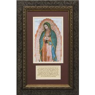 Our Lady of Guadalupe Matted with Prayer-Ornate Dark Solid Wood Frame 11.5X17.5, Made in the USA.