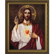 Sacred Heart of Jesus, Gold Solid Wood Frame 13.5x16, Made in the USA