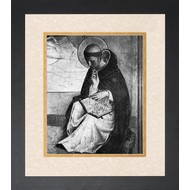 St. Dominic, Black & White w/ Double-Matted in Cream over Gold, Black Solid Wood Frame 13.75x17.75, Made in the USA.