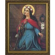St. Philomena, Fine Art Print Under Premium Clear Glass, 13 X 16 Gold Frame