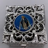 Stainless Steel Silver Finish Filigree Rosary Box-Fatima