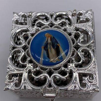 Stainless Steel Silver Finish Filigree Rosary Box-Fatima