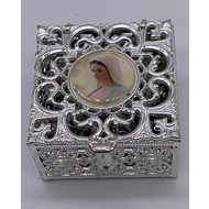 Stainless Steel Silver Finish Filigree Rosary Box-Our Lady Of Grace
