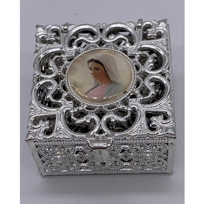 Our Lady of Grace Stainless Steel Silver Finish Filigree Rosary Box