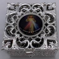 Stainless Steel Silver Finish Filigree Rosary Box-Divine Mercy
