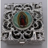 Stainless Steel Silver Finish Filigree Rosary Box-Guadalupe