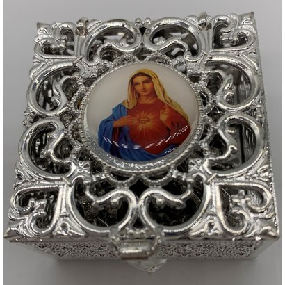 Stainless Steel Silver Finish Filigree Rosary Box-Immaculate Heart Of Mary