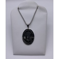St. Michael Oval Pendant with Black Background on Stainless Steel Chain