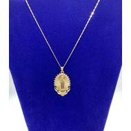 Guadalupe Pendant with  Pendant with Rhinestones-Stainless Steel Gold Plate Chain